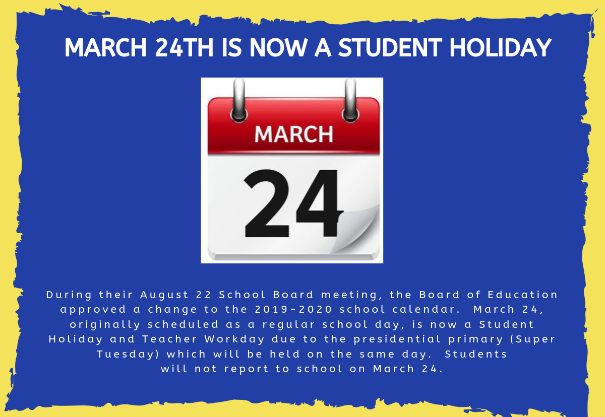 March 24th is a student holiday