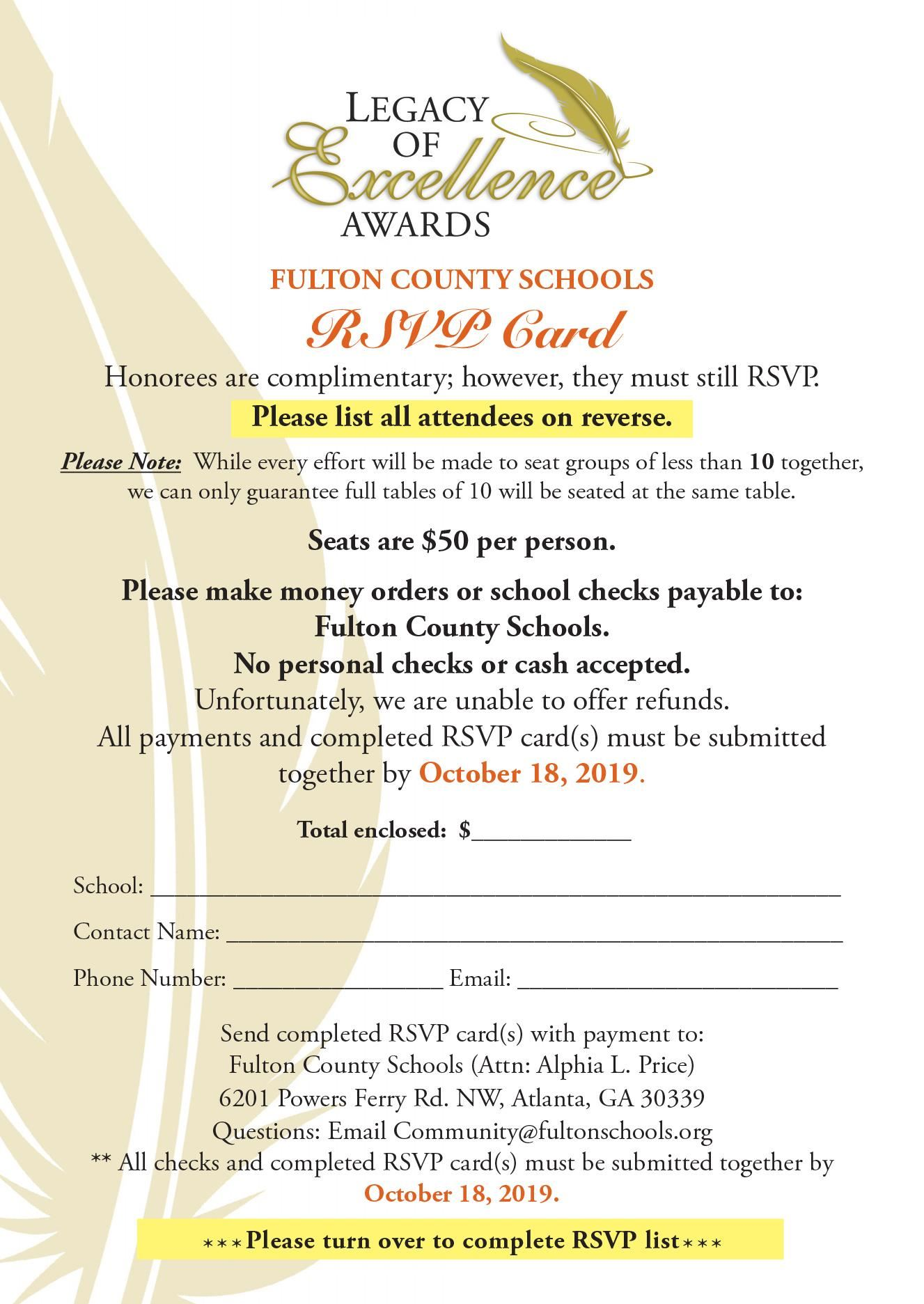 Legacy of Excellence RSVP Front