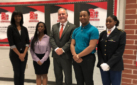 Superintendent Woods w Banneker 3D students