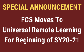 FCS Moves to Universal Remote Learning for Beginning of SY20-21