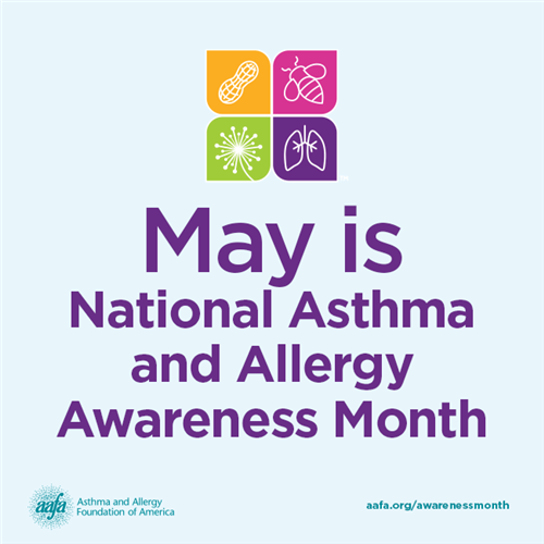 Blue background with May is National Asthma and Allergy Awareness Month