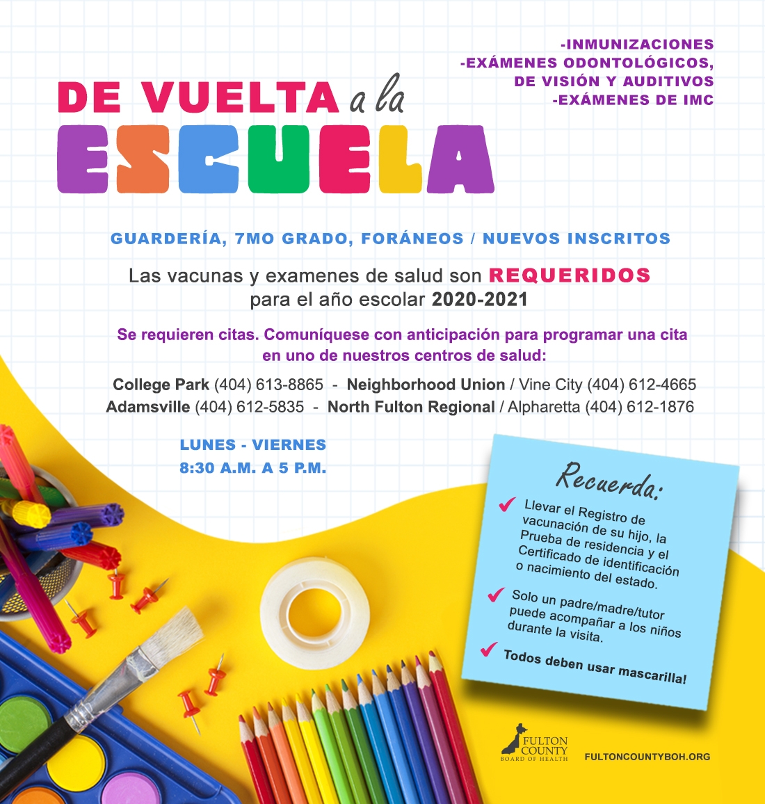 Back to School Immunizations and Screenings (Spanish Version Flyer)