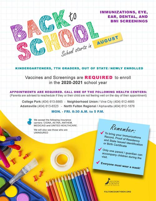 Back to School Immunizations and Screening Resource