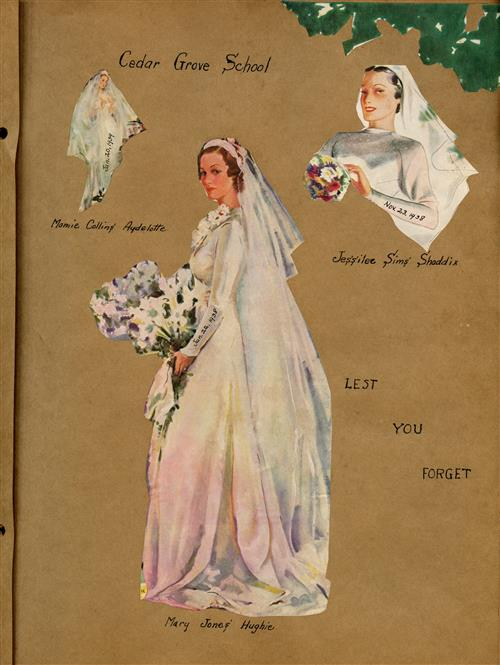 Scrapbook page with women in wedding gowns