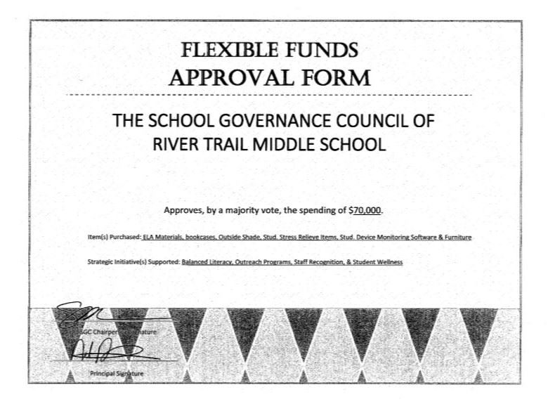 certificate of approval of flexible funds