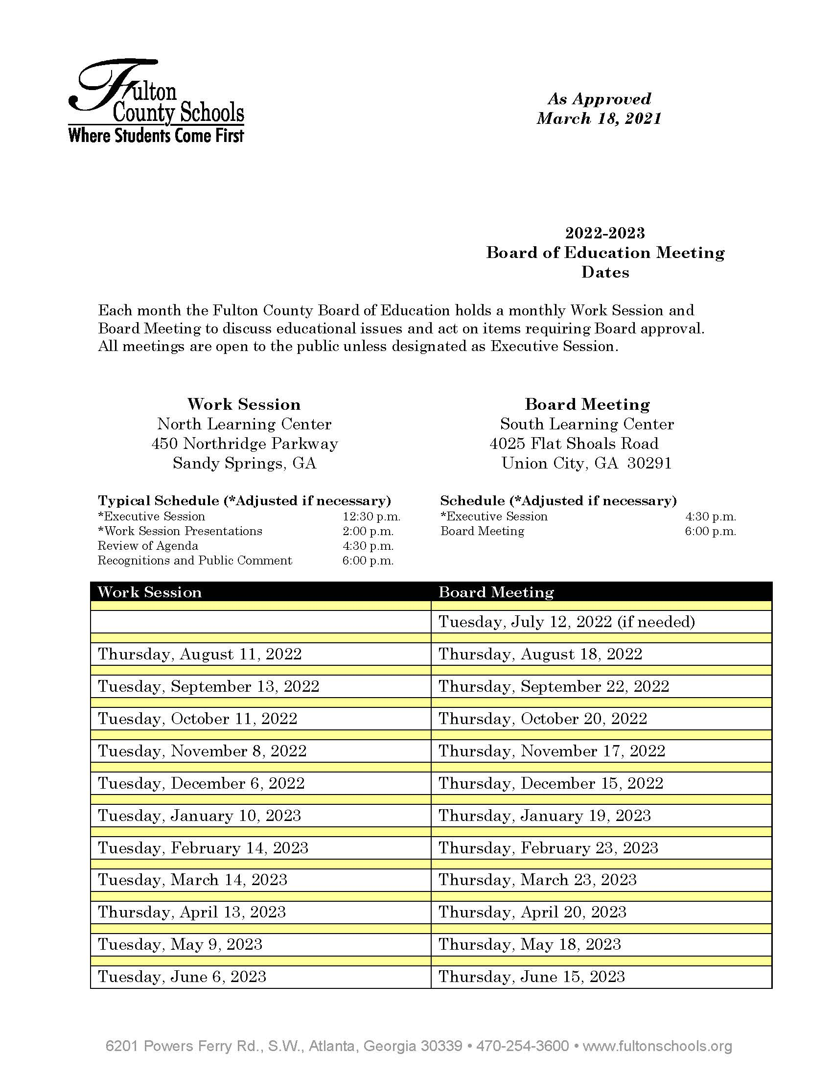Printable 2022-23 Board Meeting Schedule