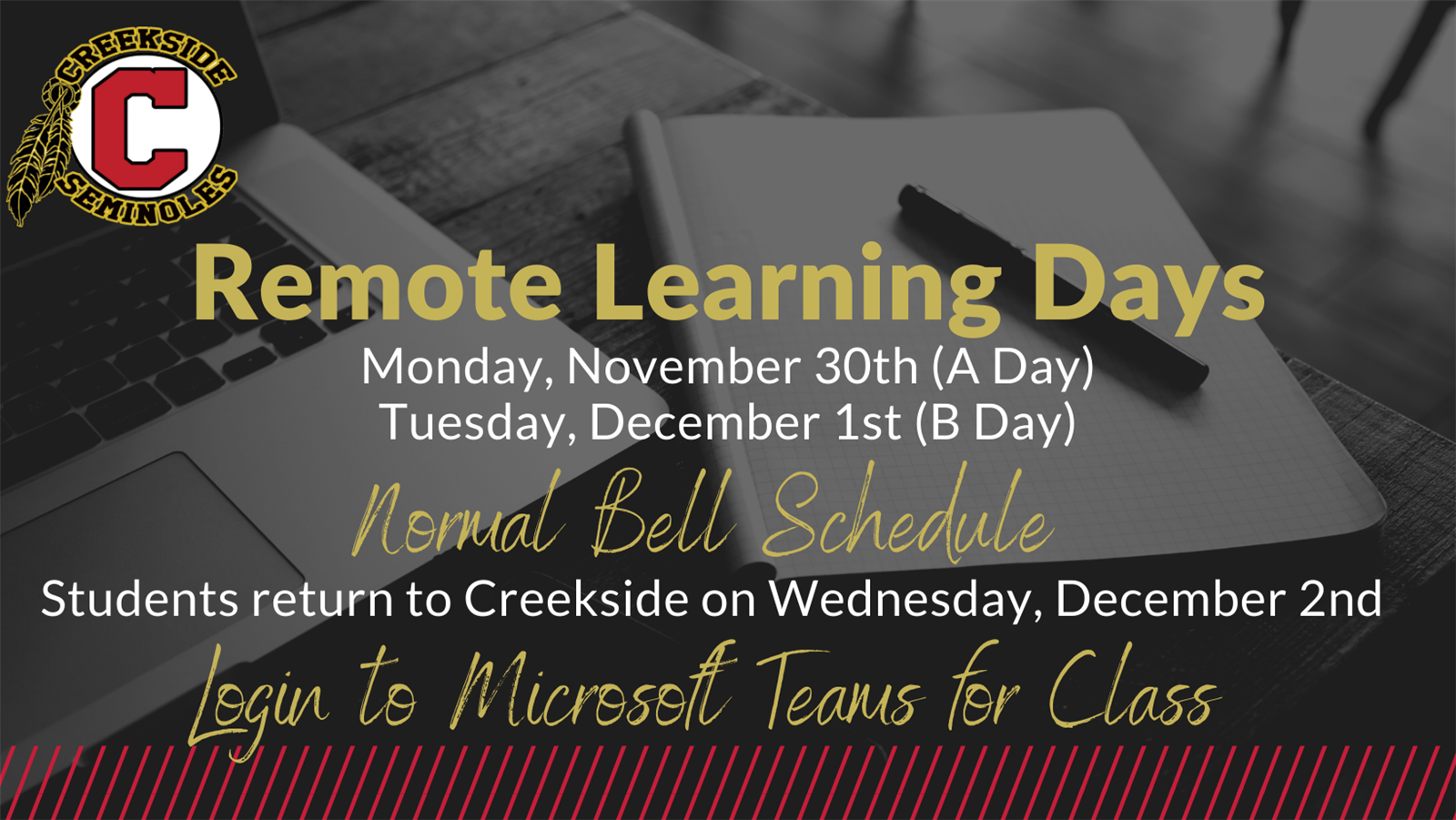 District Remote Learning Days: November 30th & December 1st
