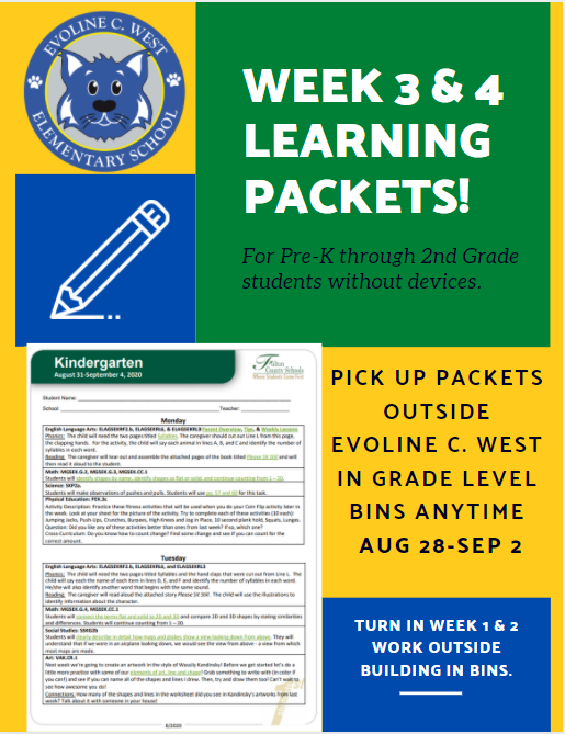 Learning Packets for PreK-2nd Grade: Weeks 3 & 4