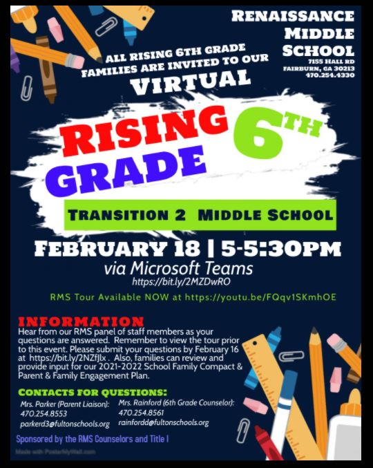 Wow....Can you believe it's time to prepare for 5th grade transition? Please share with your parents.  The event is scheduled for Feb. 18th.