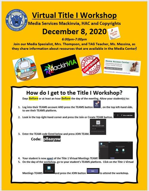Virtual Title I Workshop Media Services Mackinvia, HAC and Copyrights: December 8, 2020
