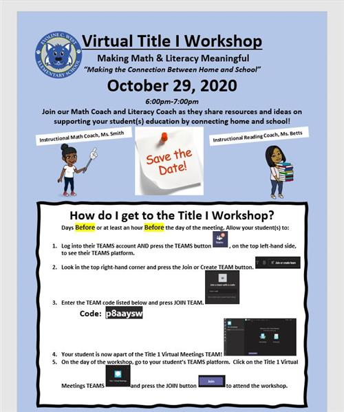 Virtual Title 1 Workshop: Making Math and Literact Meaningful