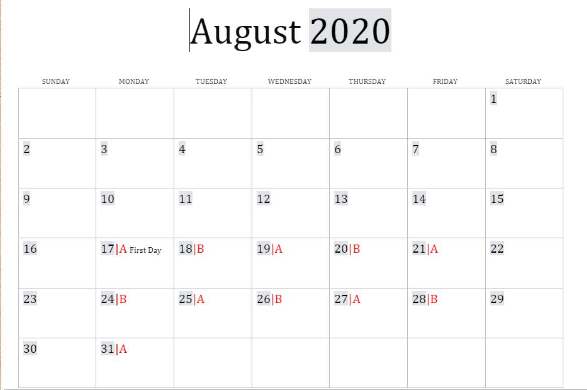 August A and B Day Schedule