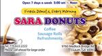 picture of coffee and donuts with the word sara donuts