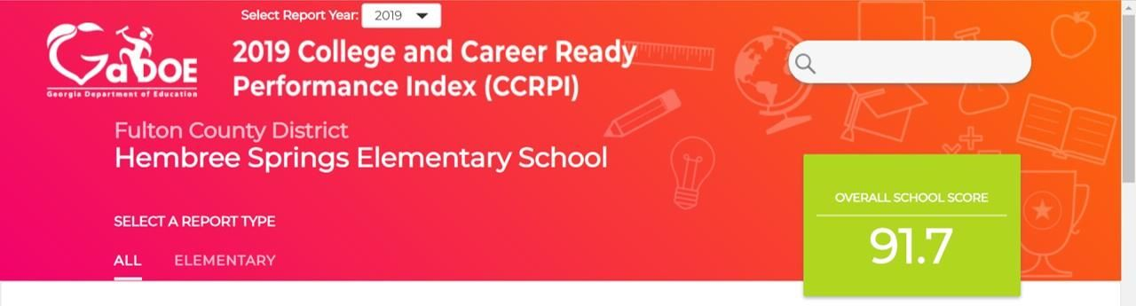 2019 College and Career Ready Performance Index (CCRPI) for Hembree Springs Elementary. Overall Score f 91.7