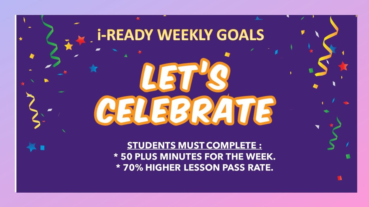 I-READY WEEKLY GOALS
