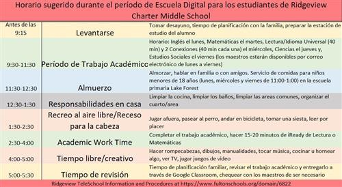 Suggested Teleschool Schedule Spanish