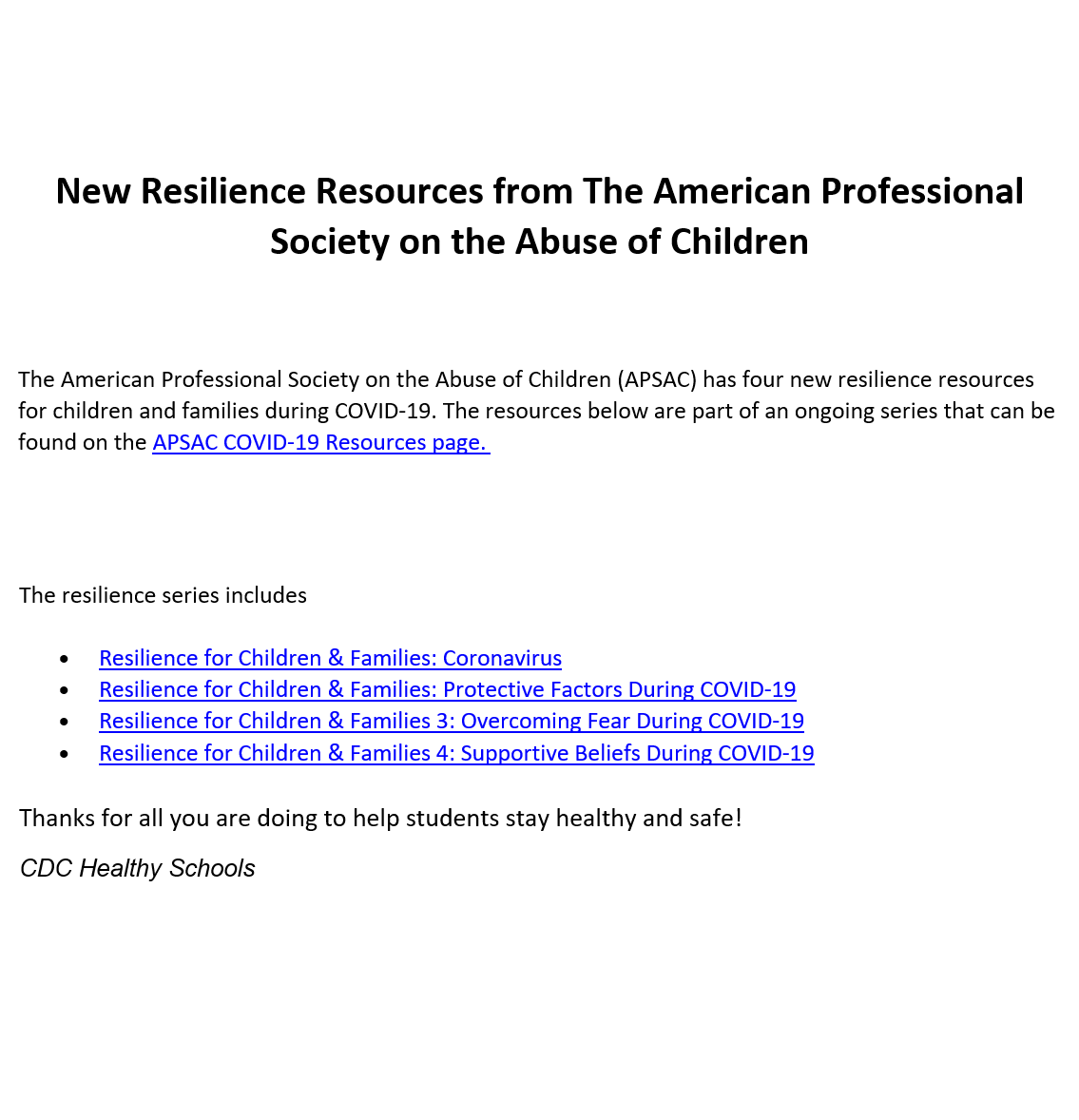 Resilience Resources (Click Here for Links)