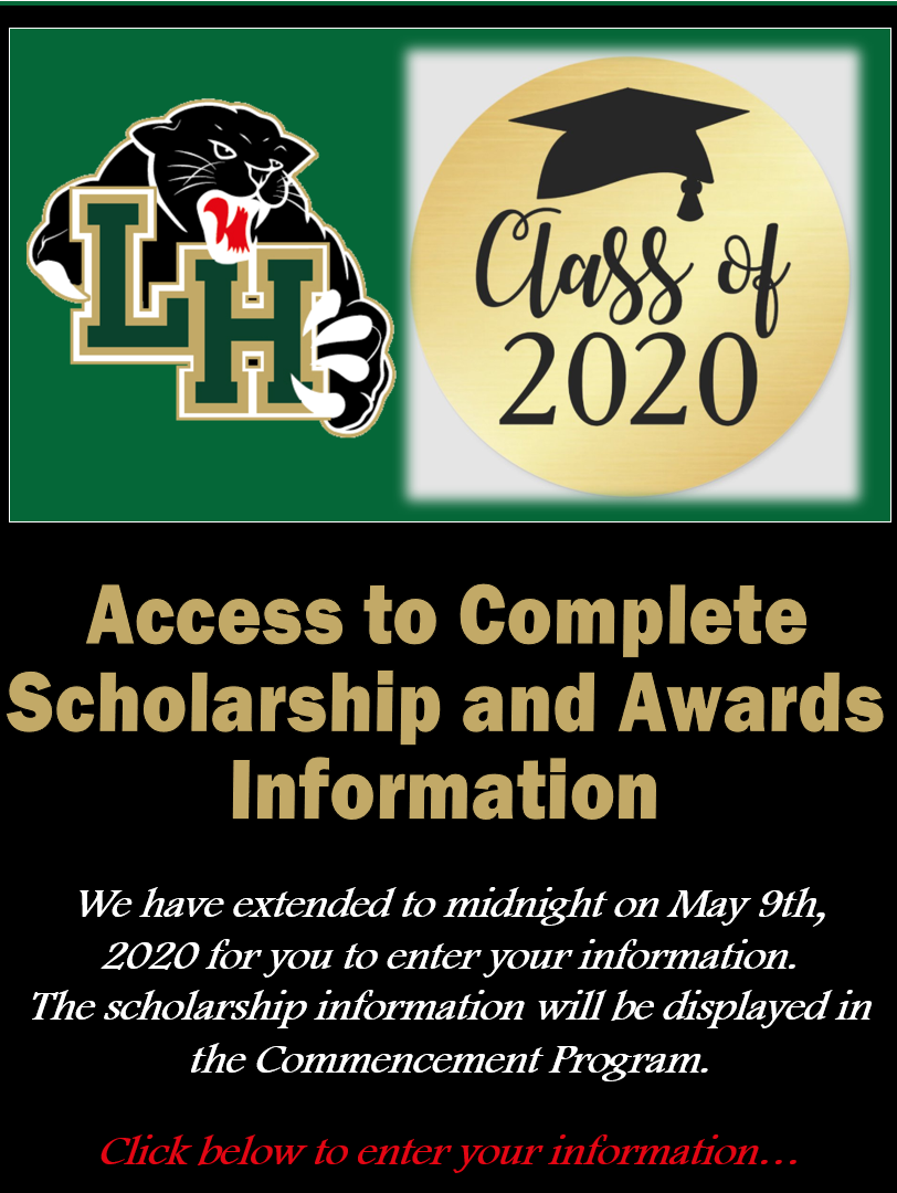 Scholarship Information (click here to enter your information)
