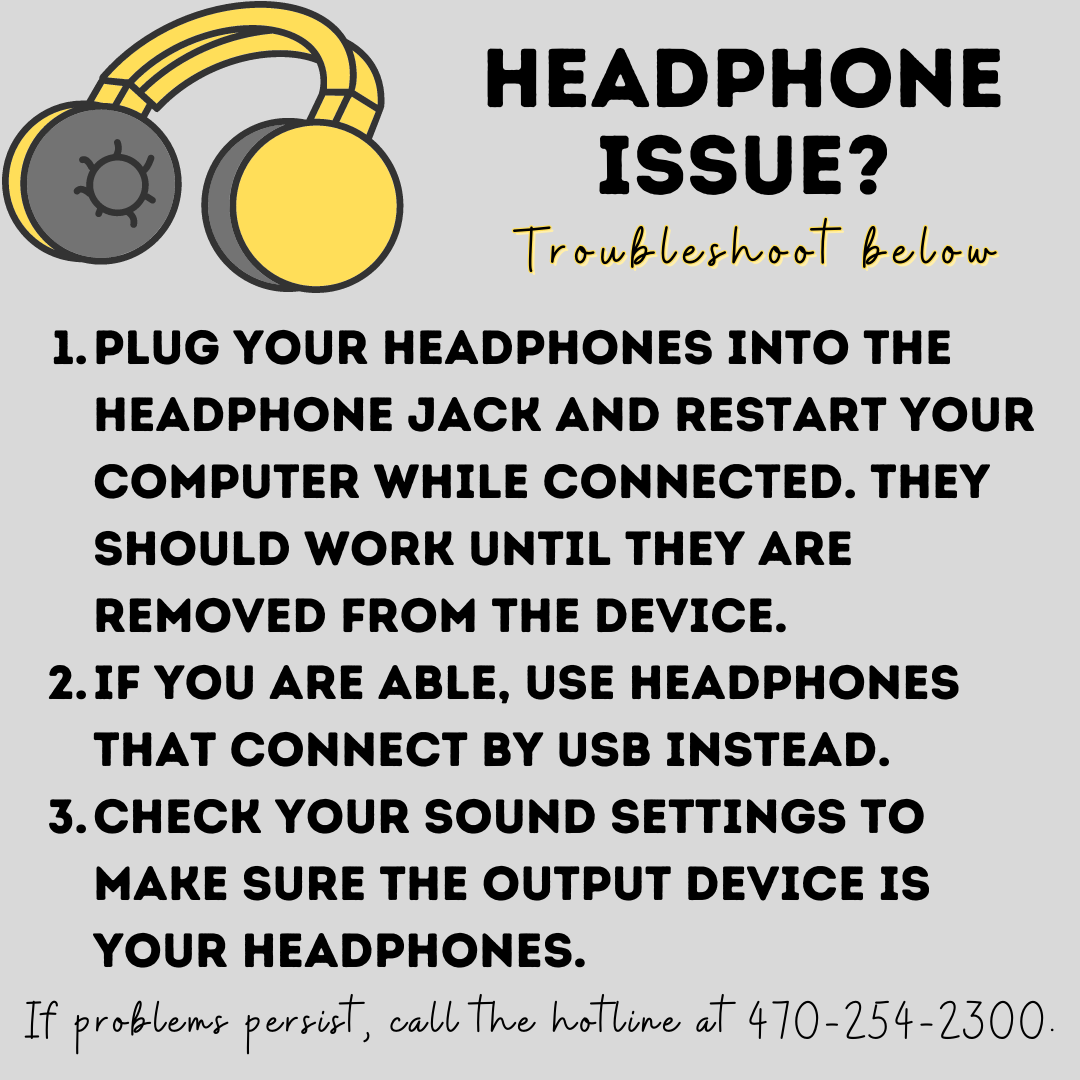graphics describing what to do with headphones if they don't work