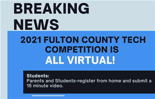 Breaking news graphic. Parents and students register from home and submit a 15 minute video.