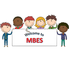 "cartoon children holding a banner that says ""Welcome to MBES"""