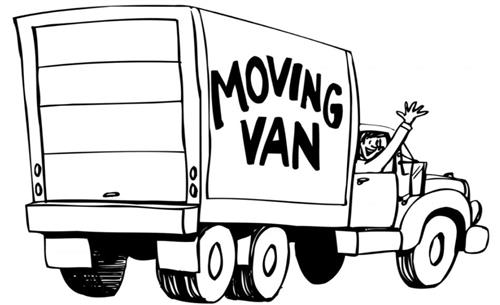 Picture of a moving van with passenger smiling and waving out the passenger side window.