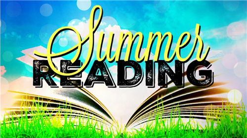 "graphic with an open book on the grass that states ""summer reading"""
