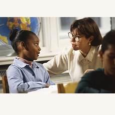 picture of student talking with student