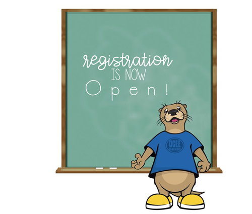 "Otter and chalkboard that says ""Registration Is Now Open"