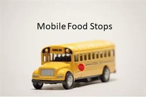 "Yellow School Bus with caption "" Mobile Food Stops"""