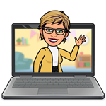 Bitmoji of Mrs. Sickler and a laptop
