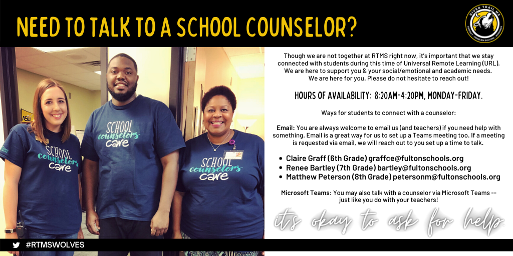 three smiling counselors with instructions about how students can talk to a counselor if they need assistance
